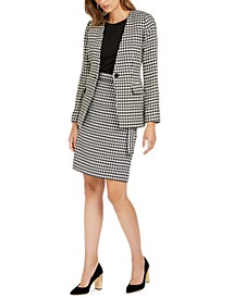 Petite Houndstooth Blazer, Embellished Top & Houndstooth Pencil Skirt