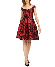 Off-The-Shoulder Brocade Floral Fit & Flare Dress