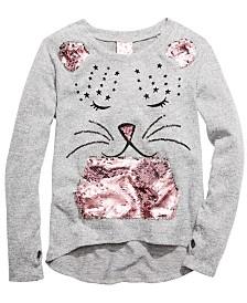 Belle Du Jour Little Girls Flip-Sequin Cat Sweatshirt