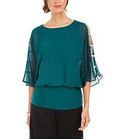 Embellished-Sleeve Top