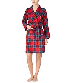 Printed Fleece Short Wrap Robe