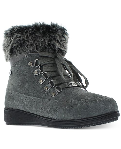 Khombu Women's Francie Boots with Faux Fur Trim