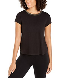 Petite Metallic-Neck Top, Created For Macy's