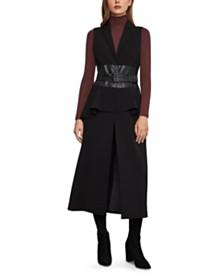 BCBGMAXAZRIA Faux-Leather-Belt Vest