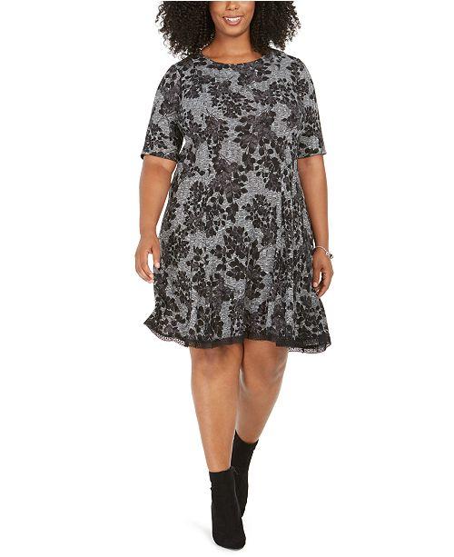Robbie Bee Plus Size Lace-Trim Printed Sweater Dress