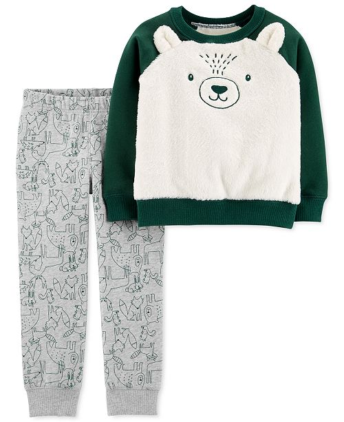 Carter's Baby Boys 2-Pc. Faux-Fur Bear Sweatshirt & Fleece Jogger Pants Set