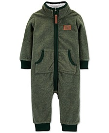 Baby Boys Dot-Print Fleece Coverall