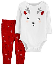 Baby Girls 2-Pc. Cotton Reindeer Bodysuit & Leggings Set