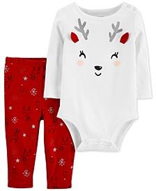 Baby Girls 2-Pc. Cotton Reindeer Bodysuit & Leggings Set