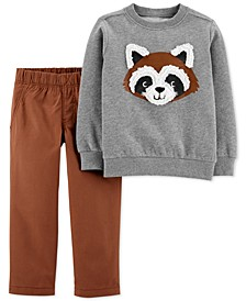 Baby Boys 2-Pc. Fleece Raccoon Sweatshirt & Canvas Pants Set