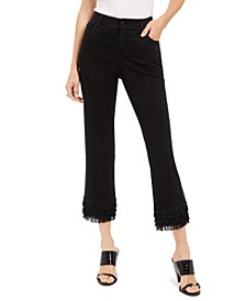I.N.C. Fringe-Hem Straight-Leg Ankle Jeans, Created For Macy's