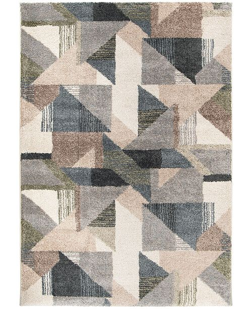 """Palmetto Living Mystical Deco Town Muted Blue 6'7"""" x 9'6""""  Area Rug"""