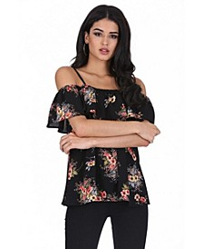 Women's Floral Printed Off The Shoulder Frill Top