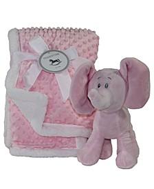 Popcorn Plush Blanket and Plush Elephant Set