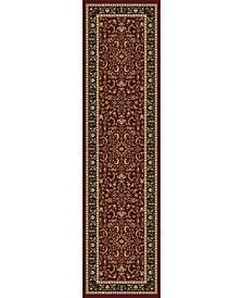 "CLOSEOUT! 1318/1533/BURGUNDY Navelli Red 2'2"" x 8' Runner Rug"