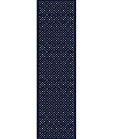 KM Home 782/1314/NAVY Pesaro Blue 2'2 x 7'7 Runner Rug