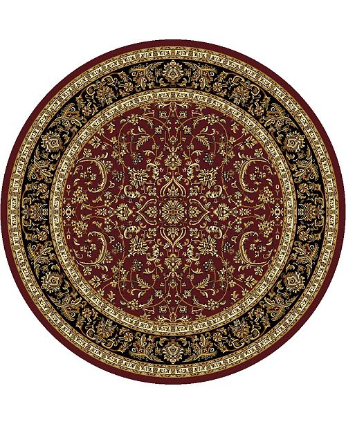 """KM Home CLOSEOUT! 1318/1536/BURGUNDY Navelli Red 5'3"""" x 5'3"""" Round Area Rug"""
