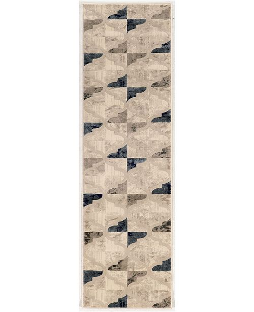 "KM Home CLOSEOUT! 3793/1003/BONE Imperia Ivory/ Cream 2'2"" x 7'7"" Runner Rug"