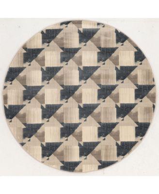 "CLOSEOUT! 3794/1005/GrayBONE Imperia Gray 7'10"" x 7'10"" Round Area Rug"