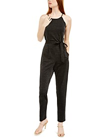 Juniors' Scalloped Shine Jumpsuit