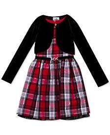 Big Girls 2-Pc. Metallic Plaid Dress & Bolero Set