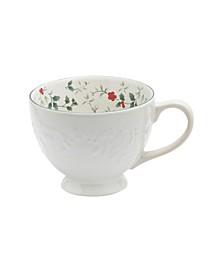 Winterberry White Embossed Mug