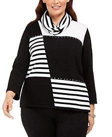 Plus Size Well Red Patch Stripe Sweater with Scarf
