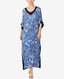 Ellen Tracy Classic Dot and Paisley Print Long Caftan