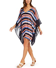 Striped V-Neck Swim Cover-Up