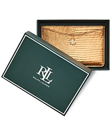 Small Lizard Embossed Boxed Leather Card Case