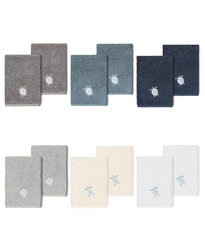 Linum Home - 100% Turkish Cotton Ava 2-Pc. Embellished Washcloth Set