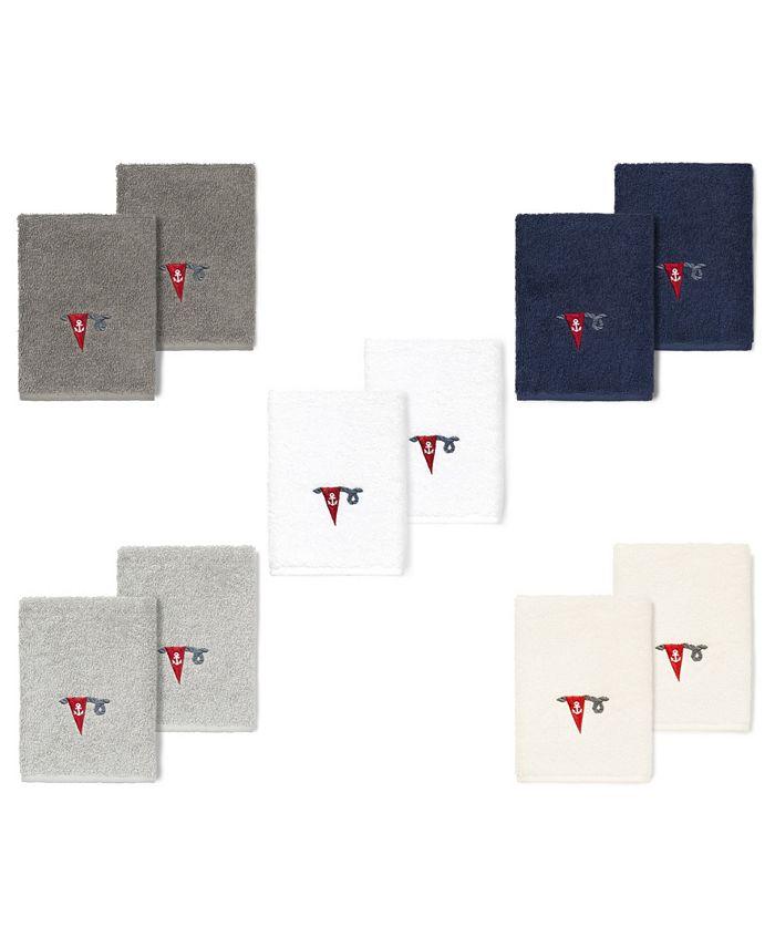 Linum Home - 100% Turkish Cotton Ethan 2-Pc. Embellished Washcloth Set