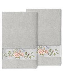 100% Turkish Cotton Rebecca 2-Pc. Embellished Bath Towel Set