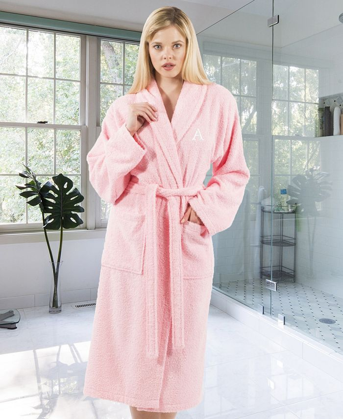 Linum Home - 100% Turkish Cotton Personalized Terry Bath Robe - Pink