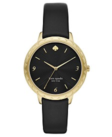 Kate Spade New York Women's Morningside Scalloped Black Leather Strap Watch 38mm