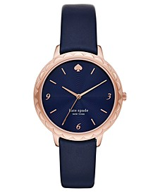 Women's Morningside Scalloped Navy Leather Strap Watch 38mm