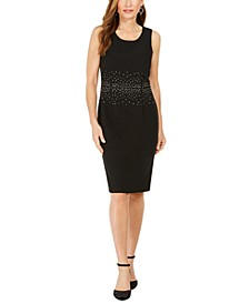 Petite Jeweled Stud Sheath Dress