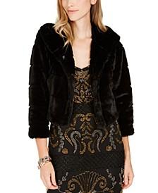 Faux-Fur Hooded Bolero Jacket