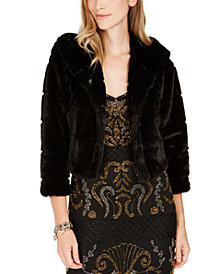 Adrianna Papell Faux-Fur Hooded Bolero Jacket