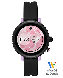 Women's Sport Scalloped Black Silicone Strap Touchscreen Smart Watch 41mm, Powered by Wear OS by Google™