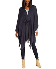 Rib Knit Belted Ruana with Fringe