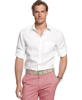 Tasso Elba Island Linen Roll Tab Shirt, Only at Macy's - Casual ...
