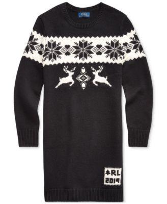 Little Girls Intarsia-Knit Sweater Dress