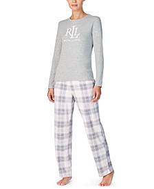 Knit Top & Fleece Pant Pajama Set