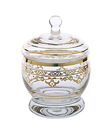 Glass Jar with Lid with Rich Gold-tone Artwork