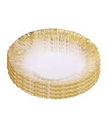 Set of 4 Dinner Plates with Flashy Gold-tone Design
