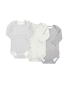Snugabye Dream Baby Boys and Girls Long Sleeve Bodysuit 3 Pack in Giftbox