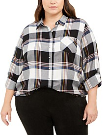 Plus Size Plaid Roll-Sleeve Shirt