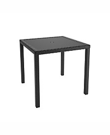 Corliving Distribution Park Terrace Square Patio Dining Table In Weave