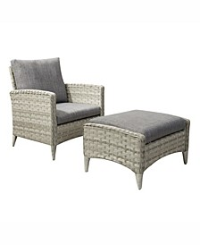 Parkview 2 Piece Wide Rattan Wicker Chair and Stool Patio Set
